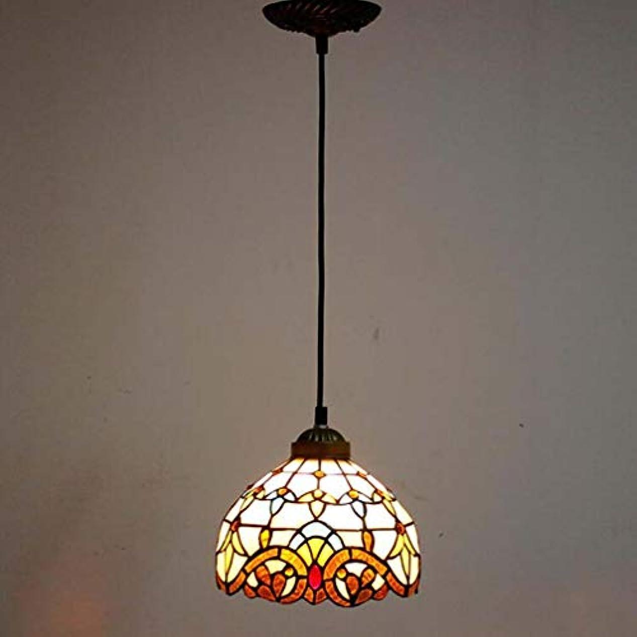 耳くまみすぼらしいティファニースタイル1ライトミニペンダント照明、ヴィンテージシーリングライト吊り下げランプステンドグラスシェード(5.5