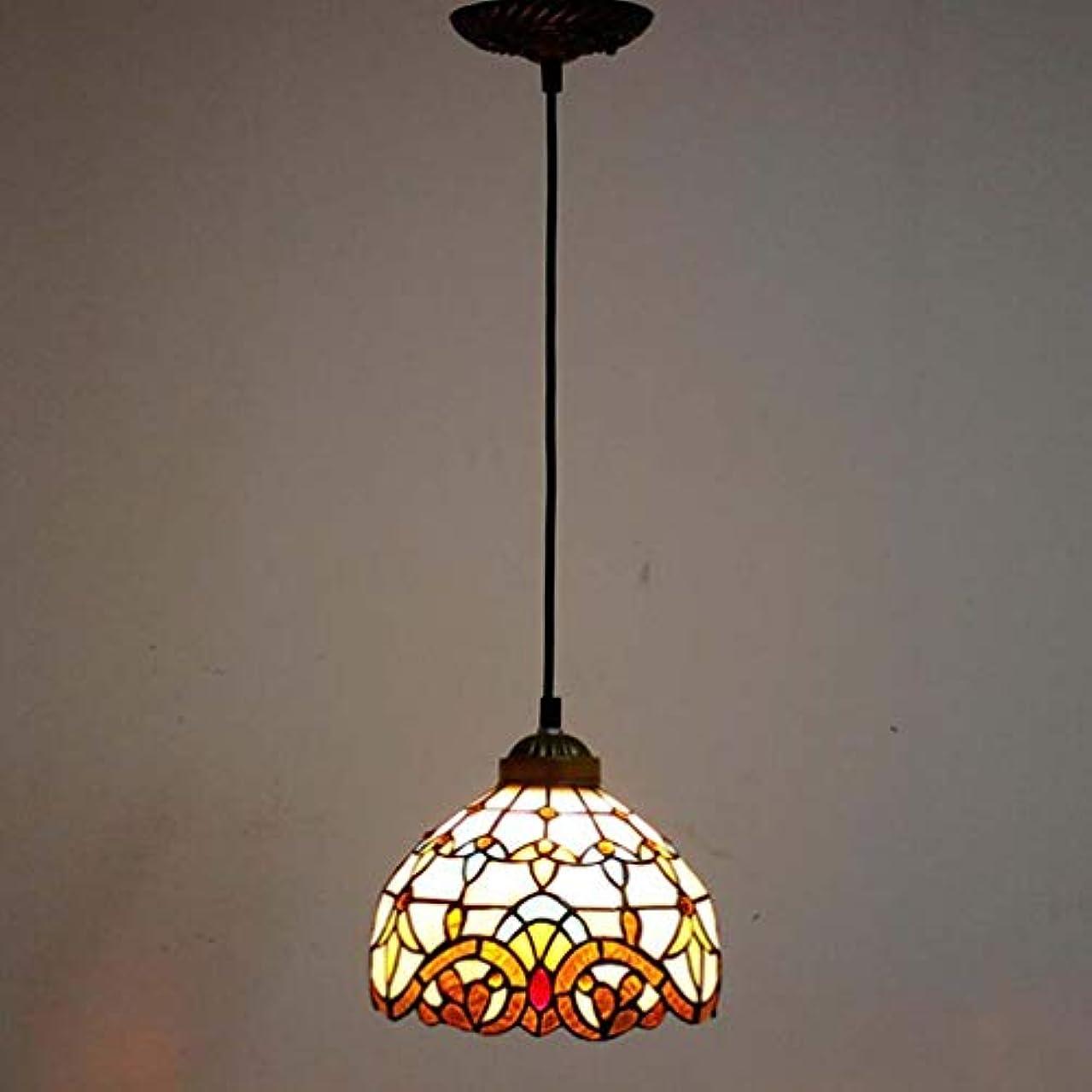 放射する電子レンジルーフティファニースタイル1ライトミニペンダント照明、ヴィンテージシーリングライト吊り下げランプステンドグラスシェード(5.5