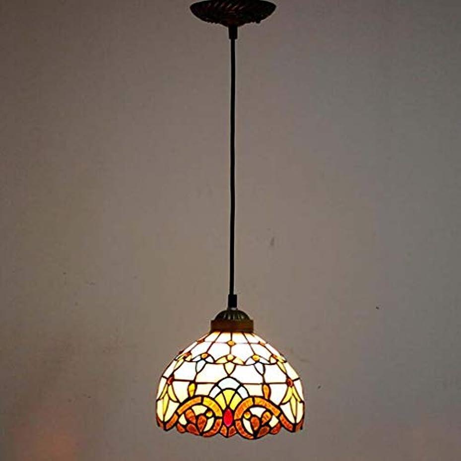 フラッシュのように素早く脱獄巨大ティファニースタイル1ライトミニペンダント照明、ヴィンテージシーリングライト吊り下げランプステンドグラスシェード(5.5