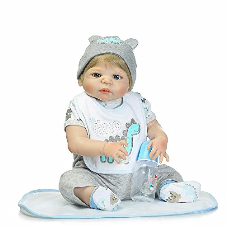 Reborn Toddlersフルシリコンベビー人形Realistic Boys Eyes Open Washable 22インチ55 cmおもちゃブロンドHair
