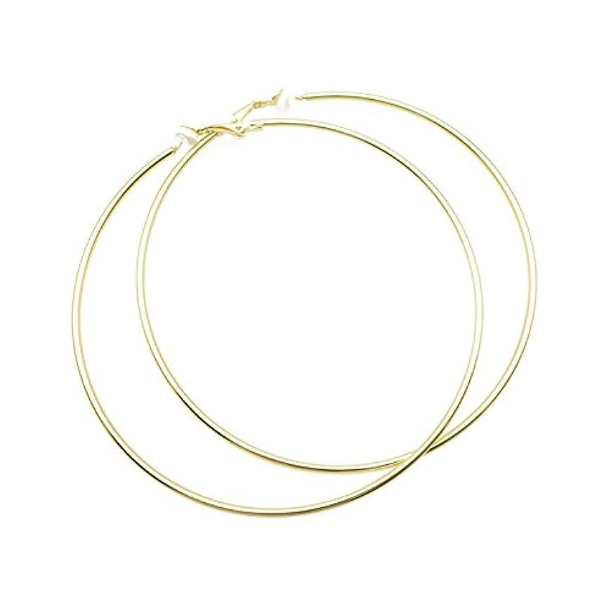 最も放射するポジティブゴールドメッキExtra Large Round円クリップonフープイヤリング非ピアスBig Ears