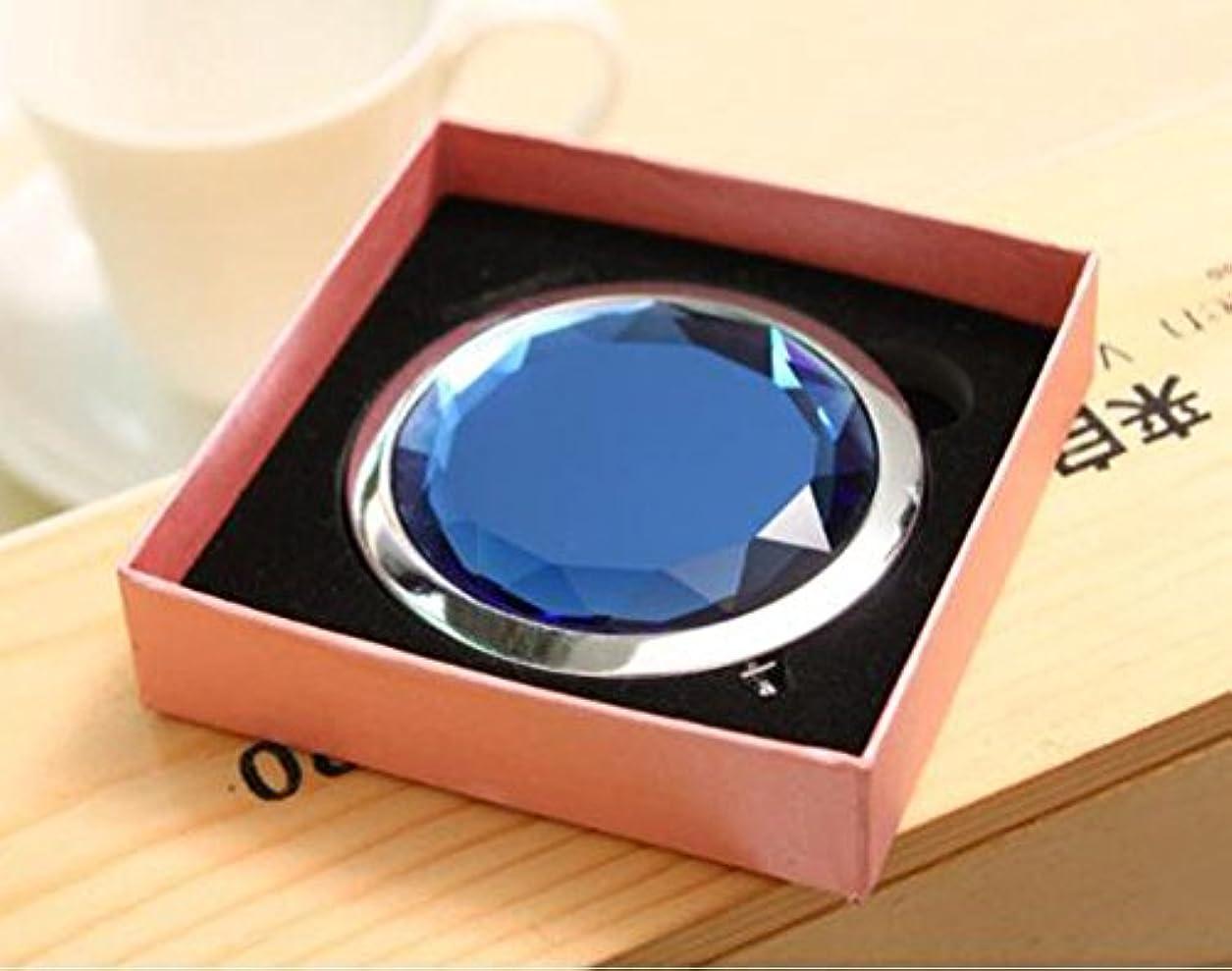 リビジョンポスター群集HJ 両面 コンパクトミラー 折りたたみ 手鏡 拡大鏡付きメタル デコラティブ 携帯ミラー ハンドミラー (青)