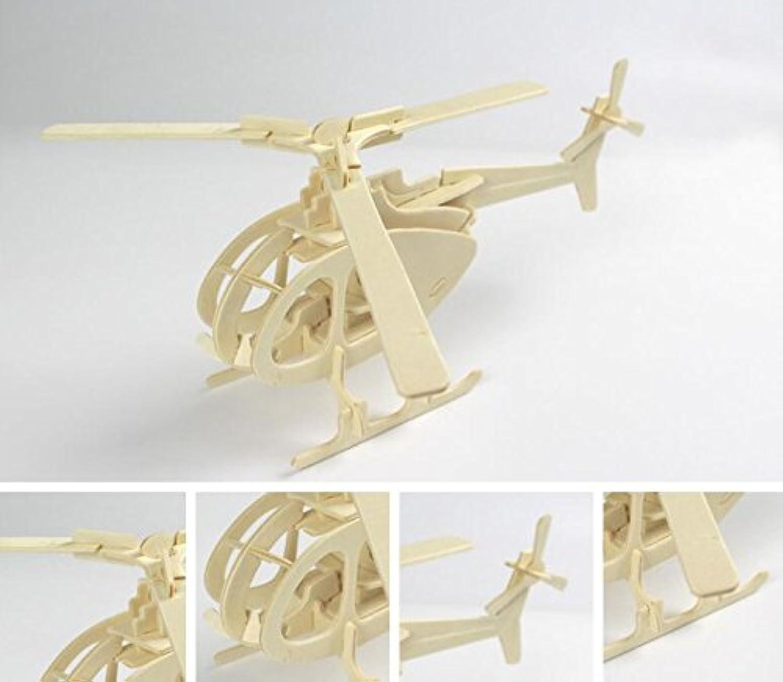 HuaQingPiJu-JP 創造的な木製の3Dパズルアーリーラーニングの形状透明なツール子供のためのおもちゃのファンタスティックギフト(ヘリコプター)