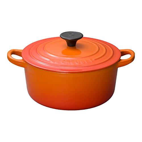 ルクルーゼ ココット ロンド ホーロー 鍋 IH 対応 18cm オレンジ 2501-18-09