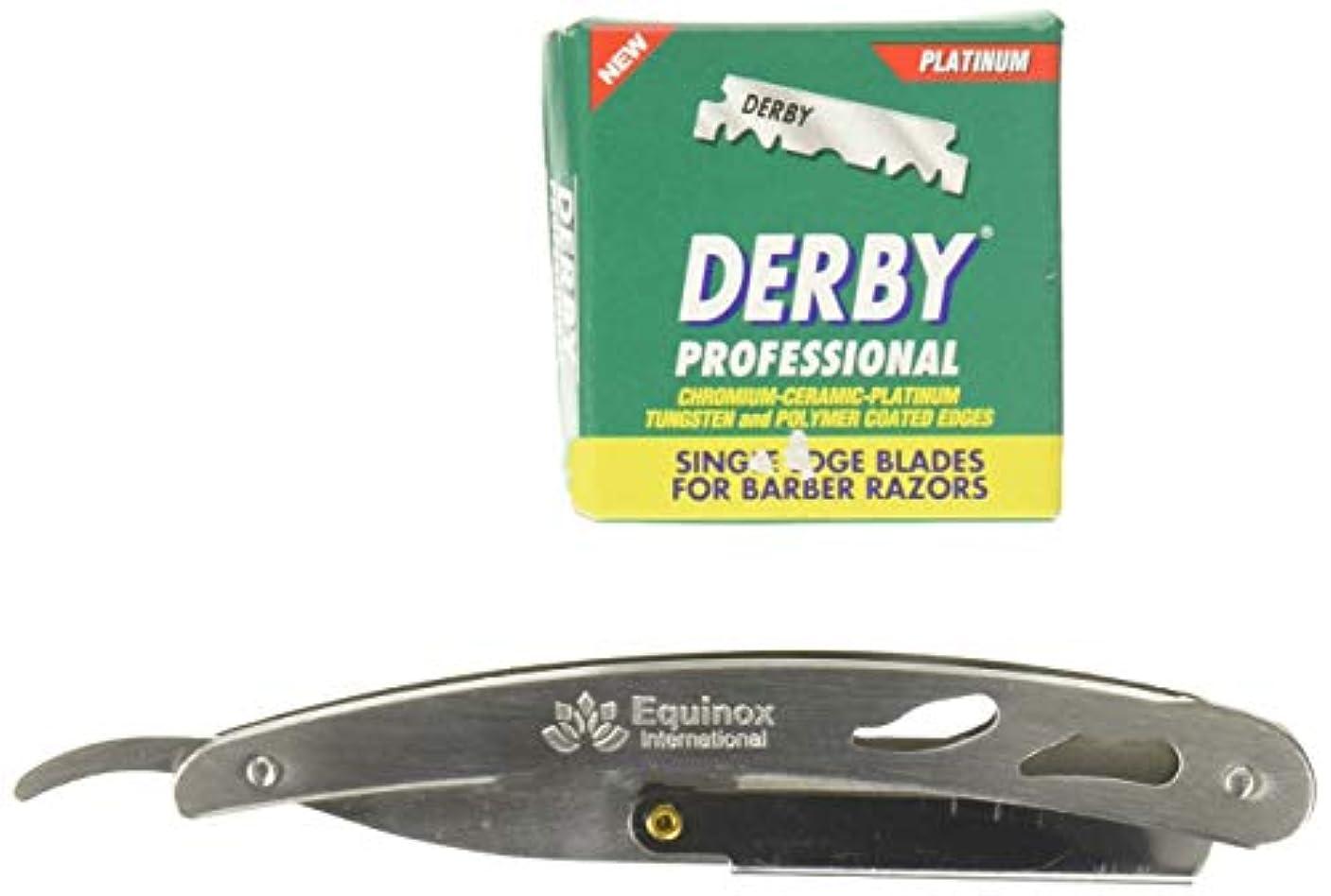 マネージャーそれらサーバEquinox Professional Barber Straight Edge Razor Safety with 100 Derby Blades - Close Shaving Men's Manual Shaver...