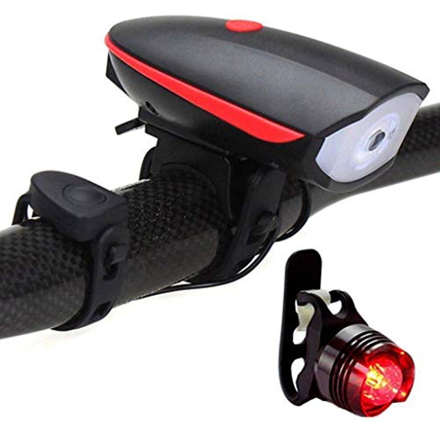 同封する熱望する名声自転車用ライトセットUSB充電式、ハイライトルーメンLED自転車用ライトスマート盗難防止用ホーン、自転車用ヘッドライト+セーフティテールライトセット