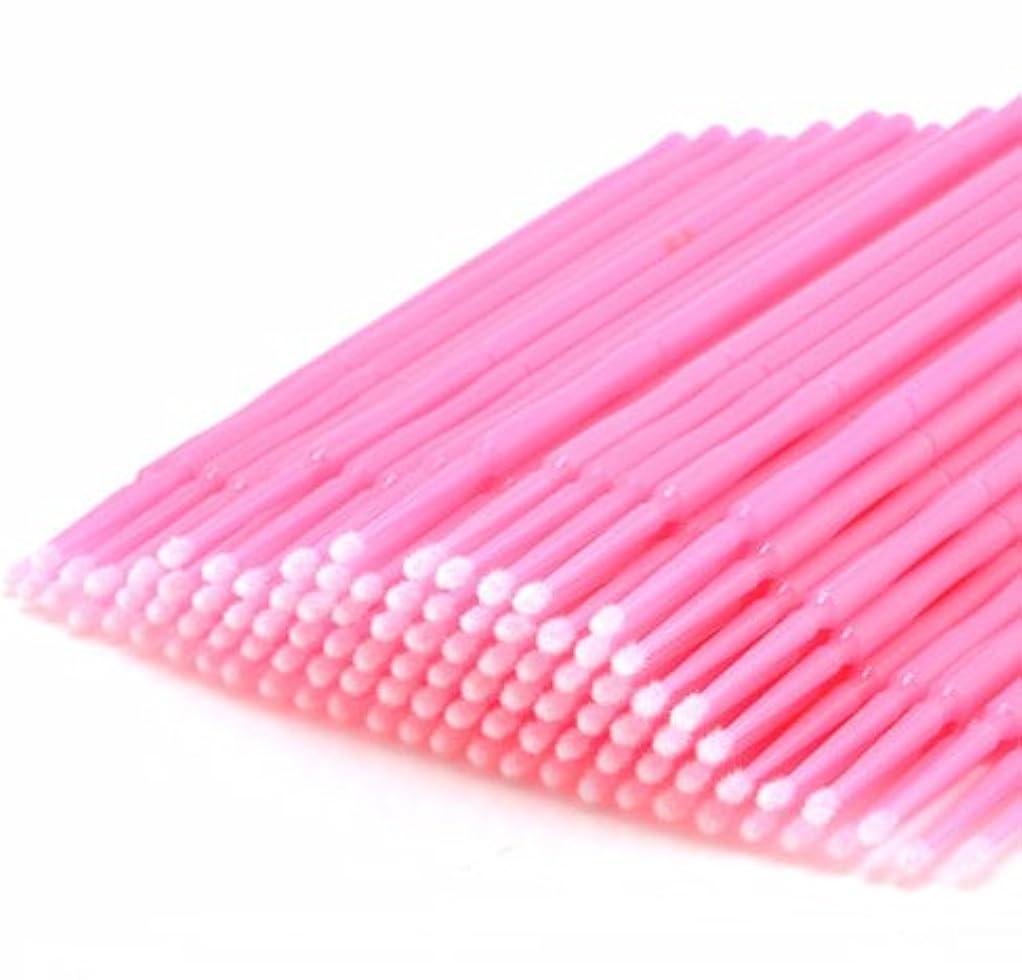 苦痛また微生物100PC Disposable Eyelash Extension Micro Brush Applicators Mascara Wands Tools 100ピース使い捨てまつげエクステンションマイクロブラシアプリケータマスカラワンドツール (Pink)