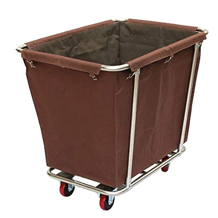 能力癌抵抗商業サービングカートのトロリー、ホテルの部屋のための車輪の頑丈な洗濯のトロリー、モーテル、90×65×85cm (Color : Brown)