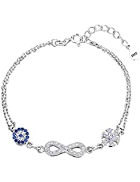 EVER FAITH Women's 925 Sterling Silver CZ Blue Evil Eye Figure 8 Infinity Snowflake Flower Link Bracelet