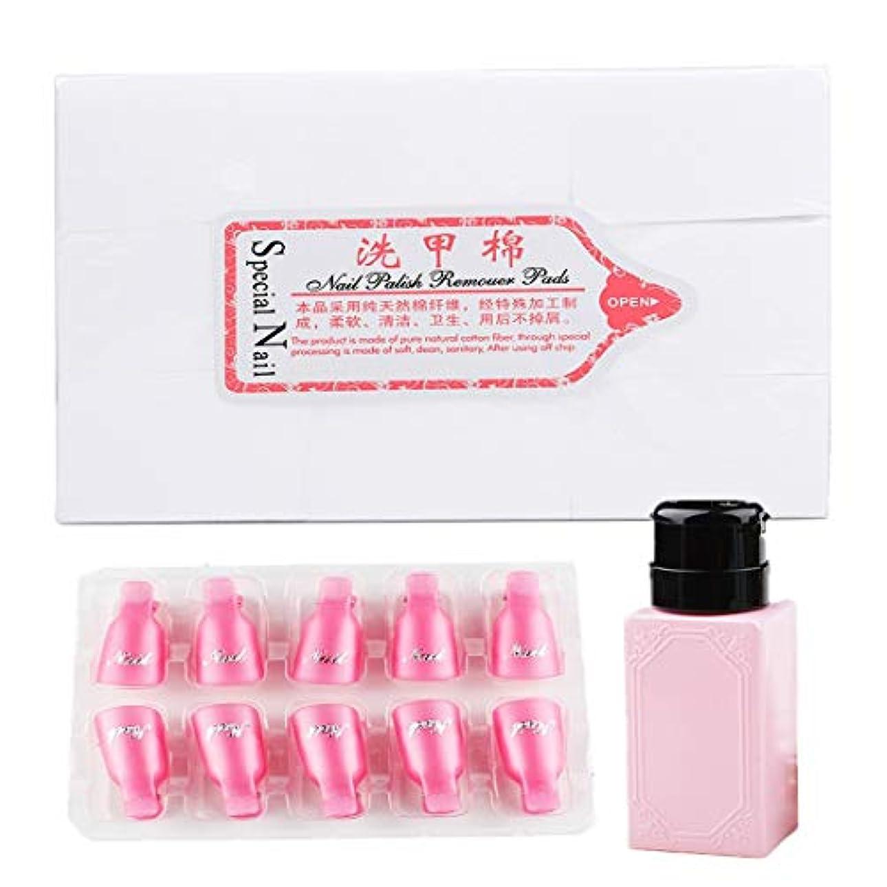 Tianmey ネイルポリッシュリムーバーツール800個のポリッシュリムーバーコットンパッドと10個のピンクのプラスチックネイルリムーバーラップと1個のマニキュアリムーバーボトル