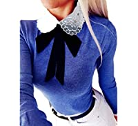 Beeatree Womens Trim-Fit Trendy Blouse Bow Crewneck Long Sleeve Tees Shirt Blue XS
