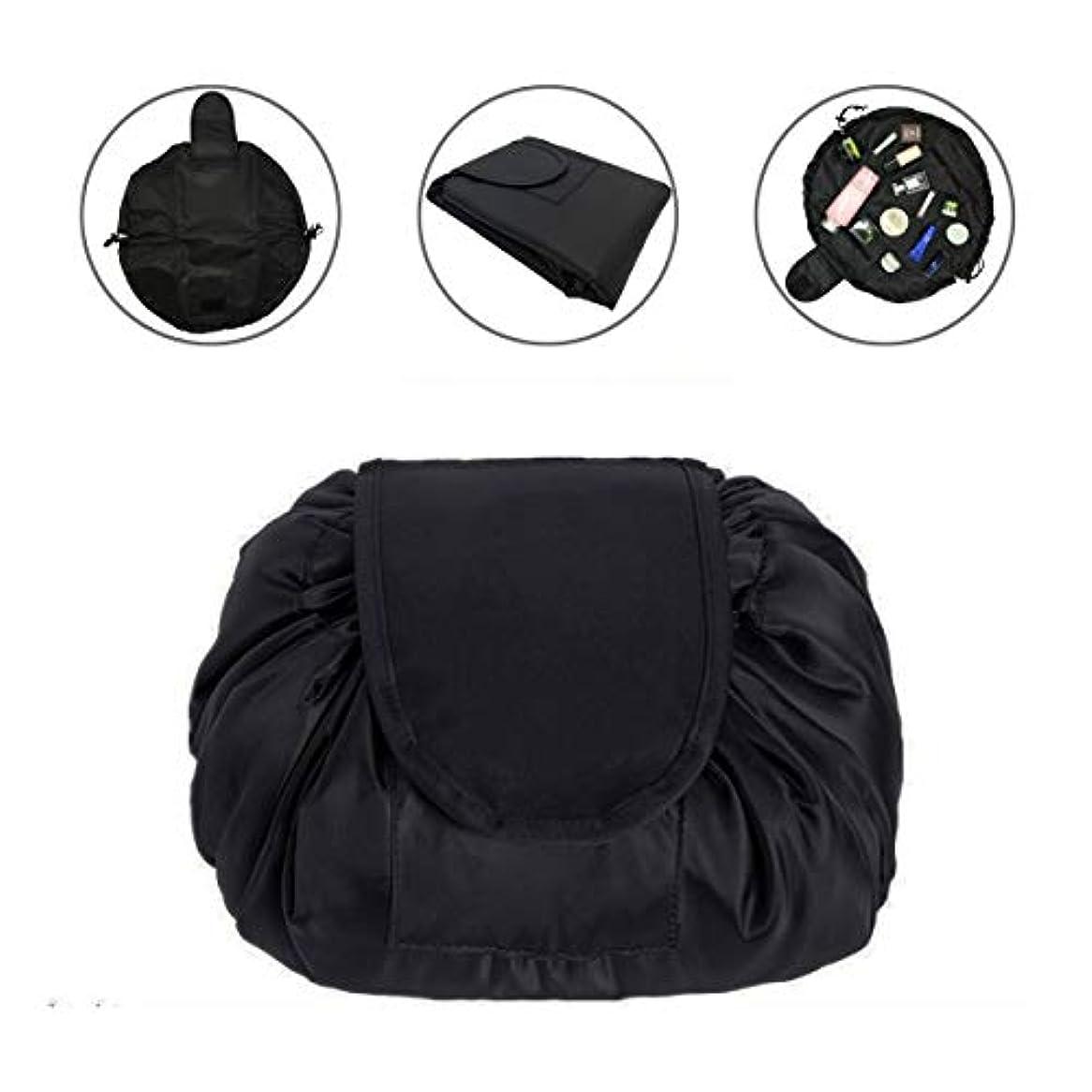 またね明示的に国LAFALA 化粧バッグ 化粧ポーチ メイクバッグ 化粧品収納バッグ 折畳式 巾着型 収納携帯用 便利 防水的 旅行 容量大きい 格好いい おしゃれ 黒色 お勧め
