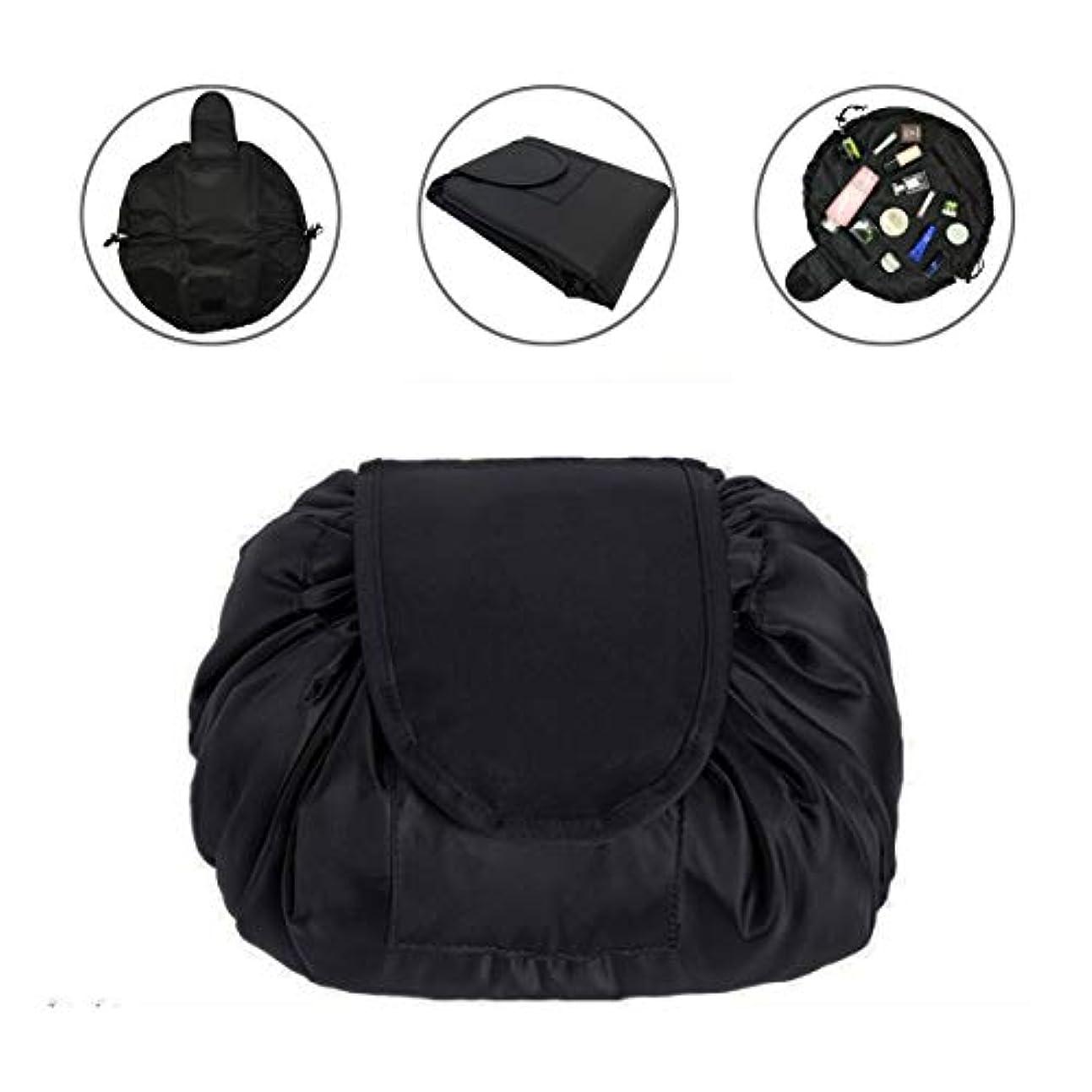 アンティーク八百屋トランザクションLAFALA 化粧バッグ 化粧ポーチ メイクバッグ 化粧品収納バッグ 折畳式 巾着型 収納携帯用 便利 防水的 旅行 容量大きい 格好いい おしゃれ 黒色 お勧め