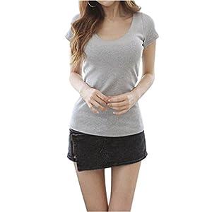 (アナトレ)Anotre レディース Uネック 半袖 Tシャツ カットソー 無地 トップス (XL, グレー) 女子会 ストレッチ はんそで ロング ろん t エレガント 重宝 大きい サイズ (グレイ XL)