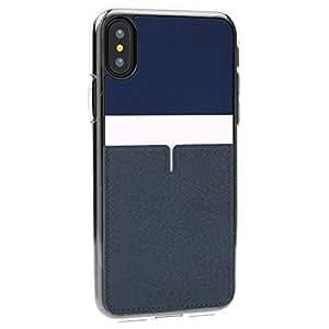 iPhone8 ケース / iPhone7 ケース / iPhone8 Plus ケース / iPhone7 Plus ケース / iPhoneX ケース 【 @hand , SMASS 】[ Qi 充電 対応 落下 衝撃 吸収 ] 背面 バック カード ポケット アイフォン 8 / 7 / 8 プラス / 7 プラス / X 耐衝撃 カバー (iPhone X, デザインB ネイビー)