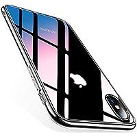 TORRAS iPhone X 専用ケース 強化ガラスケース 背面ガラスxTPUハイブリッドカバー おしゃれ 高級感 ガラスフィルム付属 ストラップホール付き (クリア)(2017)