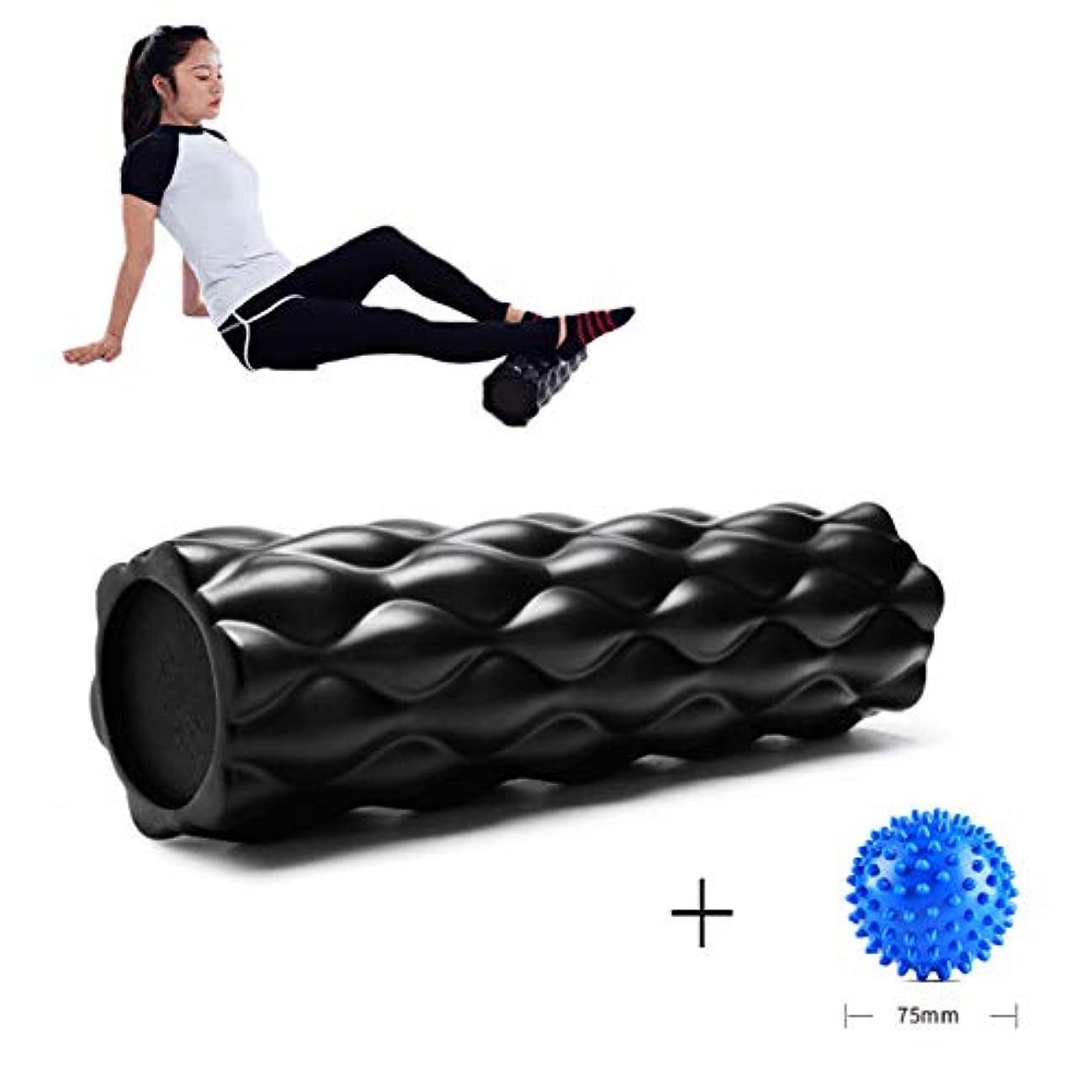 フォーラムドック傾向があるフォームローラー 深部組織筋肉マッサージトリガーポイント解放(44.5 x 13.5 cm)のための高密度耐圧脊髄チャンネル,Black