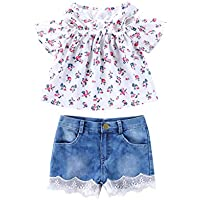 Toddler Baby Gir Clothes Off-Shoulder Top and Denim Short Pants Floral Lace Summer Outfits Set