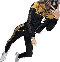 maweisong レディースパーカー2ピース衣装長袖クロップトップスとパンツトラックスーツ Yellow M