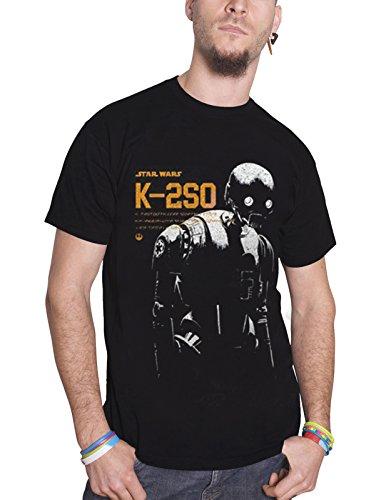 Star Wars Rogue One T Shirt K-2SO 新しい 公式 メンズ ブラック