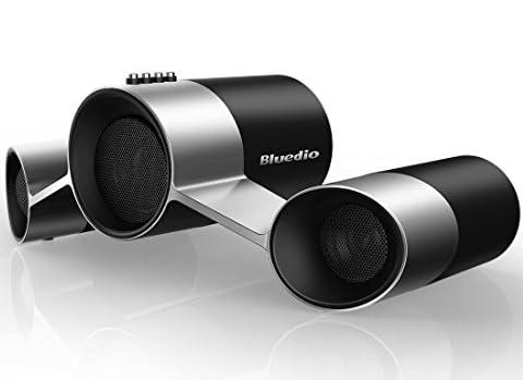 Bluedio US(UFO)ブルートゥーススピーカー ワイヤレススピーカー Bluetoothスピーカー マイク付き Wireless Satellite Speaker System 10W Output Power from 3 Drivers(ブラックシルバー)