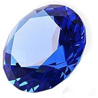 多色透明 水晶 ダイヤモンド 80mm ペーパーウェイト ガラス 文鎮 装飾品 (水色)【ギフトボックス】