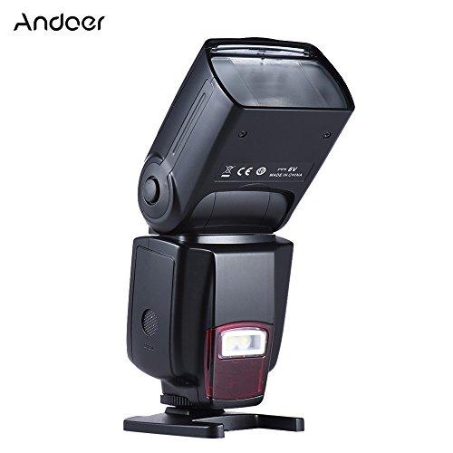 Andoer AD-560Ⅱ 汎用 フラッシュ スピードライト オンカメラフラッシュ GN50 調節可能なLEDライト付き 支持Mモード Canon Nikon オリンパス ペンタックス DSLRカメラ用