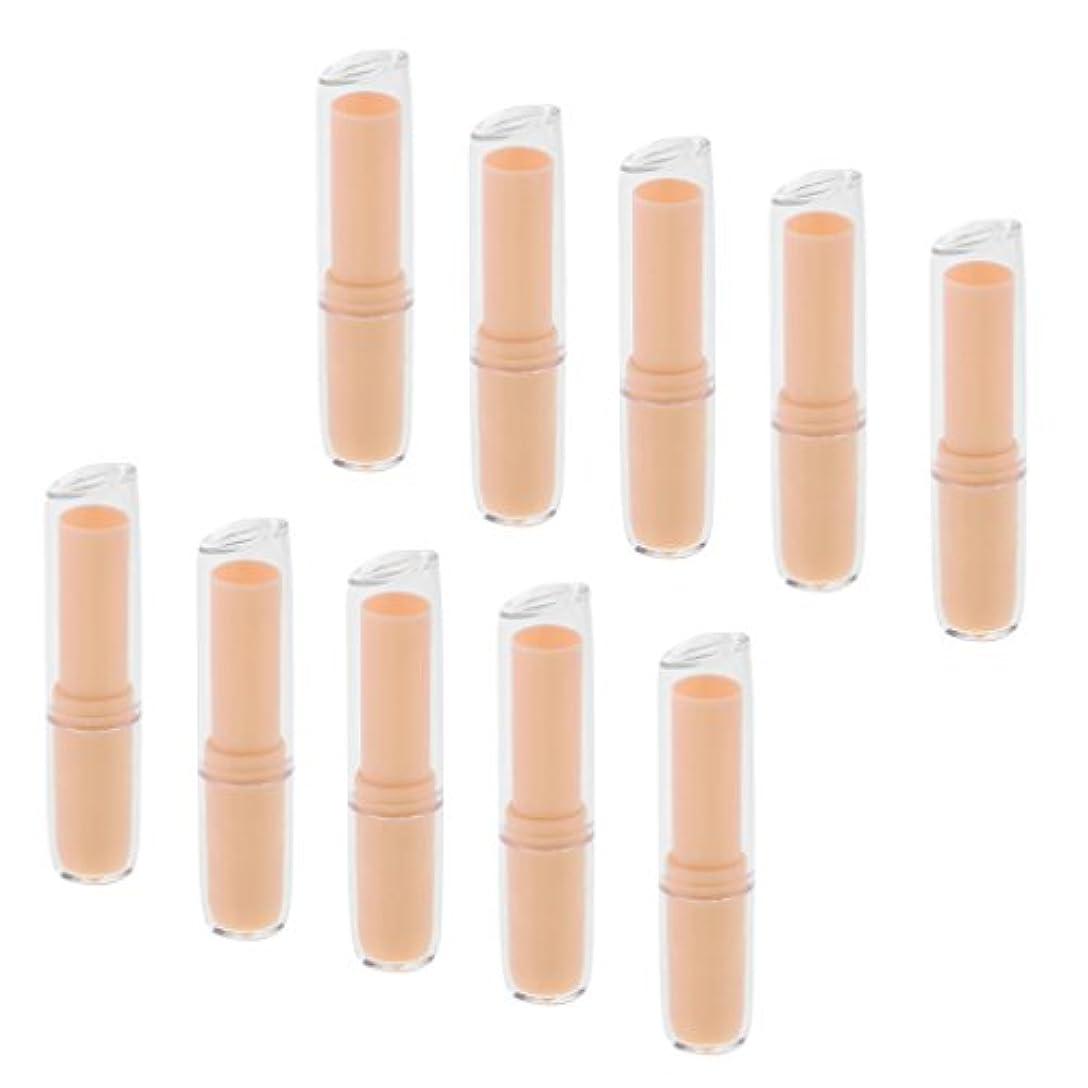 辞任肉腫癌10個の空の口紅チューブリップクリーム容器DIY化粧品メイクアップツール - オレンジ