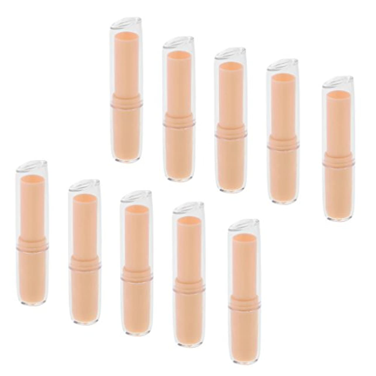 剛性手配する誘惑する10個の空の口紅チューブリップクリーム容器DIY化粧品メイクアップツール - オレンジ