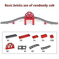 Diy ビッグサイズの列車トラックアクセサリー橋キャビンビルディングブロック電気レンガと互換性 Legoing Duploe おもちゃ子供のための