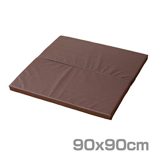 山善(YAMAZEN) プレイマット 90×90cm 正方形 2つ折りタイプ ダークブラウン IRM-9090F2B(DBR)