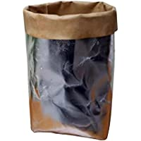 Tronet クラフト紙バッグ 多機能 ホームストレージバッグ 再利用 クラフトバッグ ナチュラル 洗濯可 W * H * D: 8 * 8 * 15cm シルバー RD-45