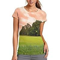 3D プリント レディース 半袖 Tシャツ ゴルフプリント クルー ネック おしゃれ シャツ トップス