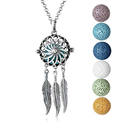 mEssentials Dream Catcher Lava Stone Essential Oil Diffuser Necklace Gift Set - Includes Aromatherapy Pendant, 24