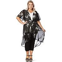 Beme Mono Print Tie Front Kimono - Womens Plus Size Curvy