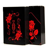 トランプ 高級 黒い神秘のバラ 防水樹脂製 面白 持ち運び コンパクト 卓上 遊戯 手品 家族 友人 パーティー テーブル ゲーム インテリア カード遊び にも です 大人 55枚