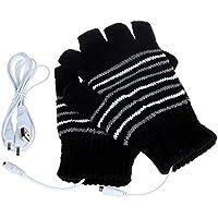 TOPmountain USB Heated Gloves -Hand Warm Gloves,Heated Fingerless Flip Cover Knitting Unisex