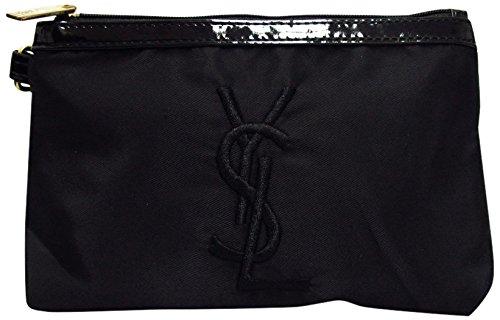 Yves Saint Laurent イヴサンローラン コスメポーチ 化粧ポーチ 小物入れ ロゴ刺繍 ブラック 並行輸入品 AMI608-BK