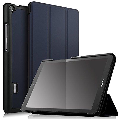 Huawei MediaPad T3 7.0 ケース 【IVSO】オリジナル Huawei T3 7.0 カバー 専用 保護ケース 三つ折 スタンド機能付き 開閉式 超薄型 最軽量 全面保護型 5色可選 Huawei MediaPad T3 7.0 2017 対応 タブレットケース ブルー