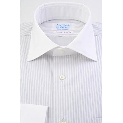 (スキャッティ) Scented ライトグレー無地 ドビーストライプ 綿100% クレリック ワイドカラー (細身) ドレスシャツ wd4160-4185