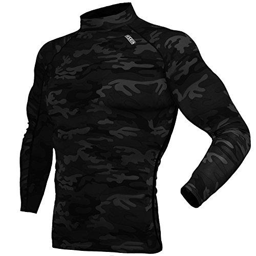(ドィアルスキン)DRSKIN スポーツインナーウエア 長袖 ハイネック スポーツシャツ [UVカット・吸汗速乾] コンプレッションウェア (SMBB34, L)