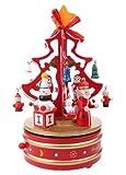木製 クリスマス ツリー オルゴール ツリー型 LED バッジ セット レトロ調 メロディー で ほっこり クリスマス