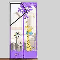 鋭い穴なしで取付けること容易な磁気はえスクリーンのドア、95 * 210cmまでのドアの入り口に合います,GiraffePurple