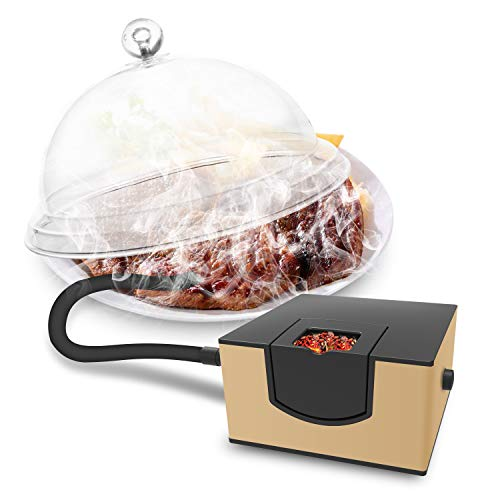 Wancle 燻製器 スモーキングガン 食用燻製器 ポータブル 燻製機 自宅や屋外バーベキューなども (ゴールド)