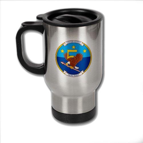 ステンレススチールコーヒーマグ米国海軍第5?with Fleet emblem
