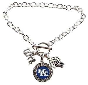 Kentucky WildcatsマルチチャームLove Basketballブルーシルバーブレスレットjewelry-ukバスケットボールブレスレット