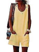 WE&energy 女性タンクトップルーズフィットカジュアルプレイスーツロンパー入札パンツオーバーオール Yellow S