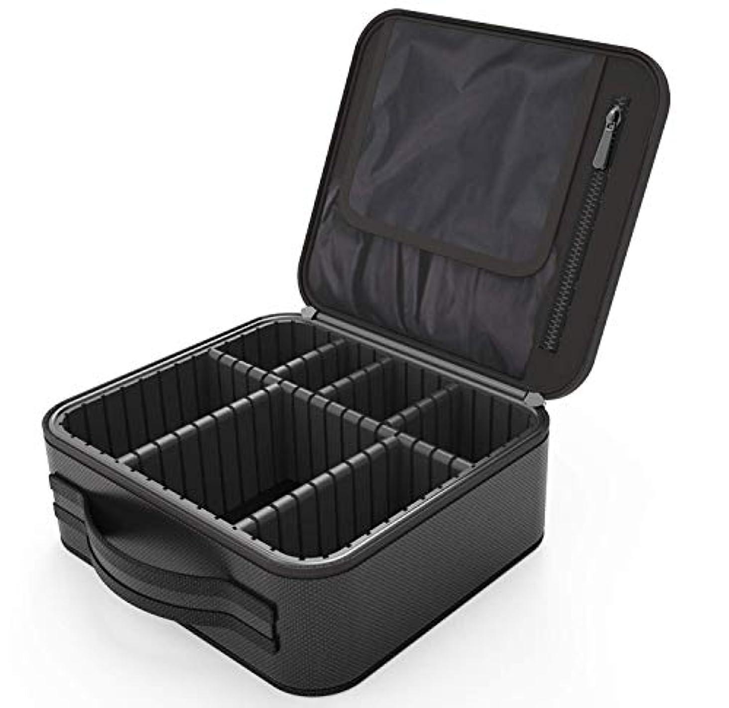 イブ光燃料便携式 プロ用 メイクボックス 高品質 收納抜群 大容量 化粧バッグ 置き方が調整できる 旅行 家用に大活躍な化粧箱 (黑)