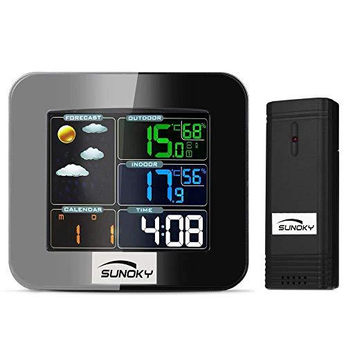 SUNOKY デジタル 温度計 湿度計 温湿度計 室内外LCD大画面温湿度計 アラーム カラフル 外部センサー 卓上電子温湿度計 気象計 気圧計 置き掛け両用 熱中症 ホーム 健康管理