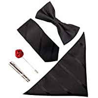 Tie for Men, 6 Sets of Wine red tie + Bow tie + tie Clip + Boutonniere + Square Towel + Gift Box Wedding Party Banquet Pocket Square tie,9